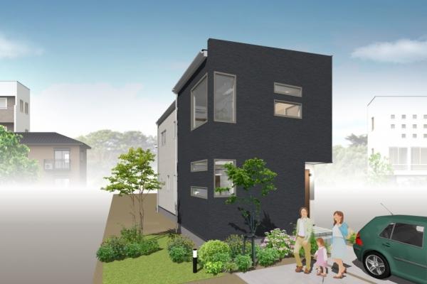 自然光が空から降り注ぐ長方形の家